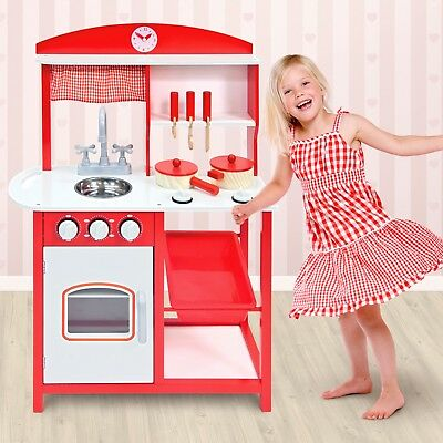 Large Pretend Play Kitchen Wooden Kids Child's Cooker Play Set with Pots & Pans