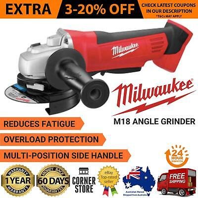 "Angle Grinder Cordless 125mm 5"" 18V Skin Only Multi Position Handle Milwaukee"