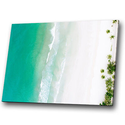 Beach White Sand Blue Sea Abstract Landscape Canvas Wall Art Large Picture Print