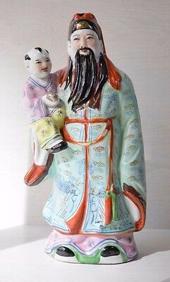Collectible Chinese Hand Painted Glazed Porcelain Man Holding Child Figurine