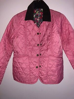 🎁New Barbour Pink Girls Quilted Jacket With Floral Lining-Super Cute! Size L