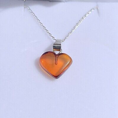 Baltic Amber Heart Necklace On Sterling Silver Chain - RSE500 ✔100% Genuine