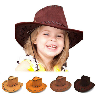 UK Stock West Cowboy Hat Suede Fancy Kid Boys Girls Cowgirl Caps Hats Hot