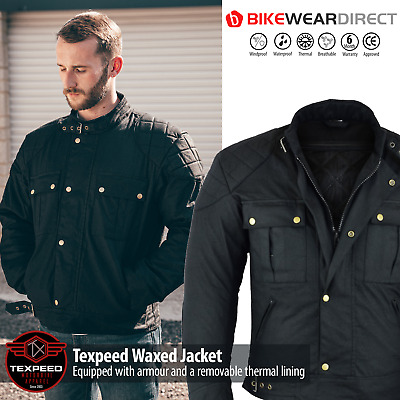 Texpeed Black Waxed Waterproof Motorcycle / Motorbike Wax Jacket With Armour