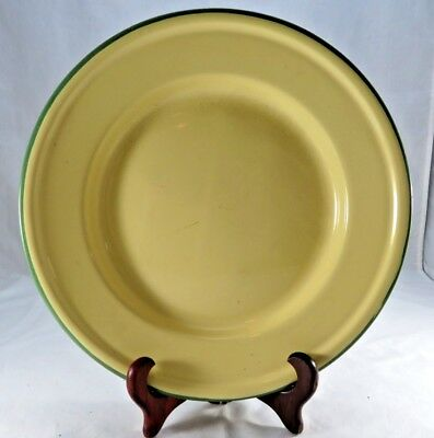 vintage enamel pie plate large bowl plate cream & green bumper made in china