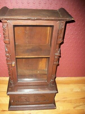ANTIQUE Arts & Crafts DISPLAY & STORAGE CURIO CABINET Hand Carved Wood c1900