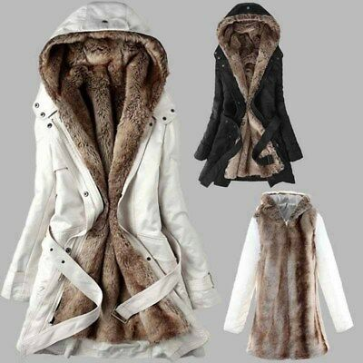 Women's Winter Detachable Hooded Fur Liner Cotton Coat Warm Thicken Long Jacket