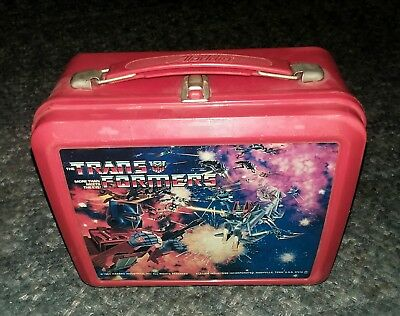 Vintage 1984 Hasbro Red Plastic Transformers Lunch Box Aladdin