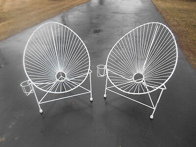 Pair Vintage Wrought Iron Egg / Womb / Acapulco Lounge Chairs MIDCENTURY MODERN