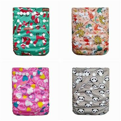 New Reusable Cloth Nappy Washable Baby Diaper Cover Wrap Kit Bamboo Charcoal