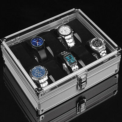 12 Grid Slot Wrist Watch Display Box Storage Holder Organizer Case Aluminium UK