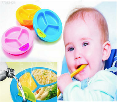 B63E Baby Toddler Boys Feeding Plate Water Bowl Divided Plate With Suction