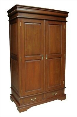 Beautiful Solid Mahogany Double Wardrobe 2 Drawers Antique Reproduction H186cm