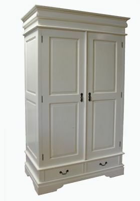 White Solid Mahogany Double Wardrobe 2 Drawers Antique Reproduction H186cm