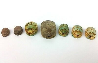 Lot of 7 Ancient Egyptian Faience Scarab Beetles Amulet Figurines Hieroglyphs BC