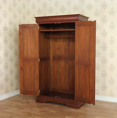 Beautiful Solid Mahogany Double Wardrobe 2 Doors Antique Reproduction H195cm