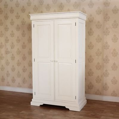 White Solid Mahogany Double Wardrobe 2 Doors Antique Reproduction H195cm