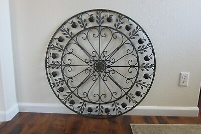 Large Round Wrought Iron Wall Decor Rustic Scroll Le Design Gorgeous