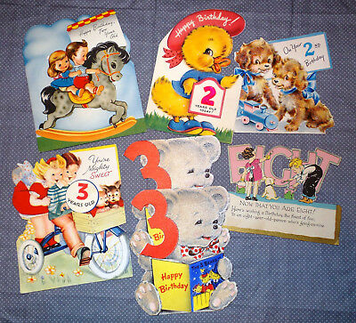 "Lot of 7 Vintage 1950's ""Age 2, 3 & 8"" Birthday Cards Greeting Cards"