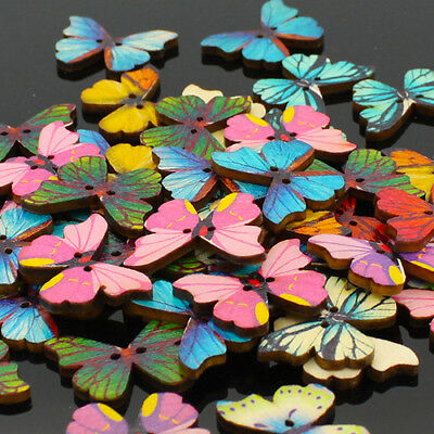 50pcs Mixed Color Butterfly Wooden Buttons Sewing Scrapbooking DIY Decor Pour