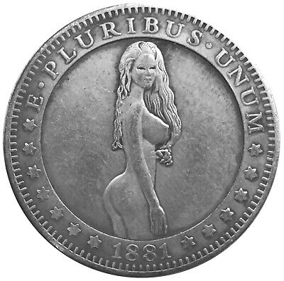 Bare Babe V2 Morgan Dollar Head Tail Lucky Challenge Coin US SELLER FAST SHIPPIN