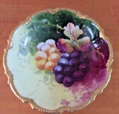 Vintage CORONET Limoges France Hand Painted Flowers & Gold Plate / Bowl Signed