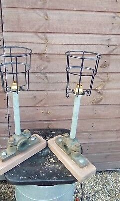 upcycled cast iron wheel axle lamps