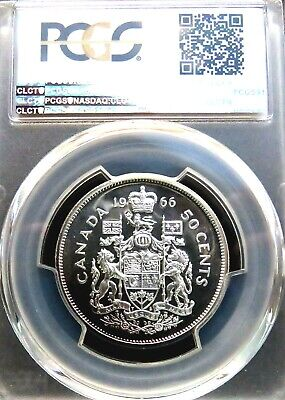 PCGS Certified PL66 Canada 1966 50 Cent Prooflike Uncirculated Silver Coin