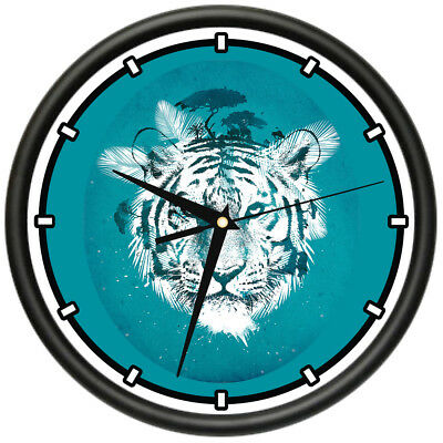 WHITE TIGER CLOCK Animals Wall Decor Bedroom Decor Wildlife Forest ...