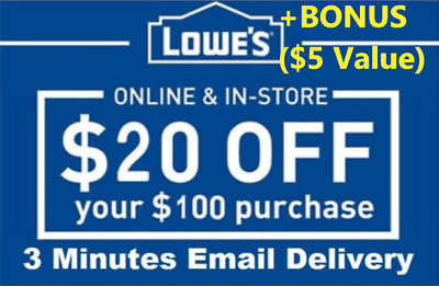 FIVE 5x Lowes $20 OFF $100Coupons-InStore Online -Fast-Delivery-+BONUS INFO ($5)