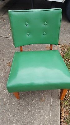 Vintage Mid Century Modern Faux Leather Green Chair