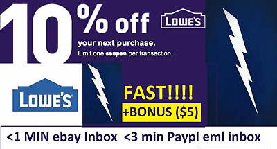 FIVE 5x Lowes 10% OFF Coupons Discount Instore/online - Fast +BONUS INFO ($5)