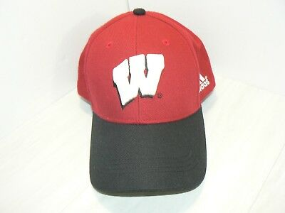 the latest d22ae fb67d Wisconsin Badgers Adidas NCAA Official Men s Fitted Cap Hat Size M 7 1 8 Red