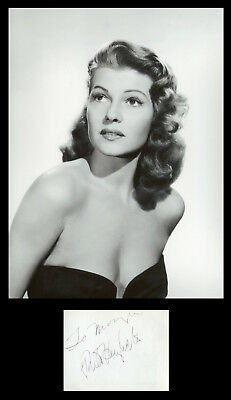 Rita Hayworth (1918-1987) - American actress - Rare signed album page (50s)