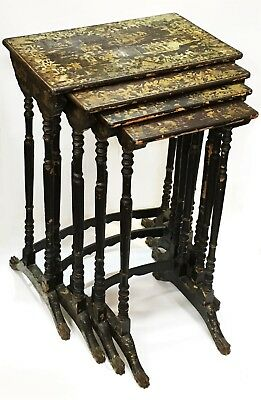 Rare 1830's Complete Set of 4 Regency Chinese Export Chinoiserie Nesting tables