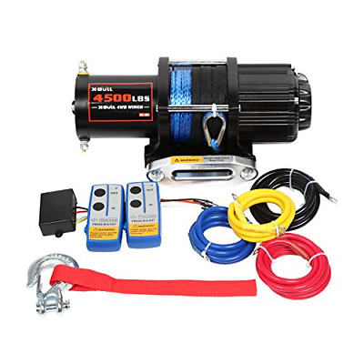 X-BULL 12V 4500LBS Synthetic Rope Electric Winch for Towing ATV/UTV/Boat Off