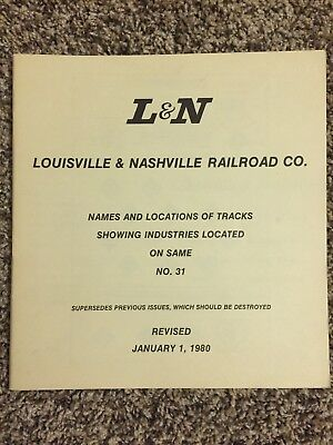 L & N Names & Locations of Tracks Showing Industries Louisville Nashville 1980