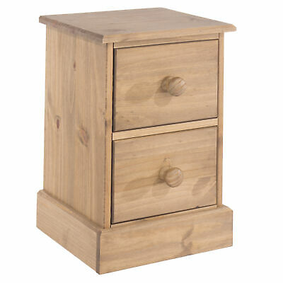 Malvern Pine Bedside Cabinet 2 Drawer Bedroom Side Table Nightstand Waxed