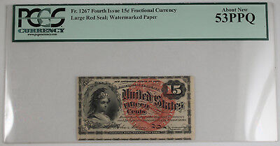 1869-75 Fractional 15 Cent Currency 4th Issue PCGS AU53 PPQ Fr-1267 w/Watermark