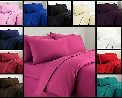 Plain Dyed Duvet Cover Quilt Cover With Pillowcase Bedding Set All Sizes
