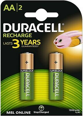 Duracell AA rechargeable batteries 1300mah pack of 2,stay charged,prechargrd,HR6