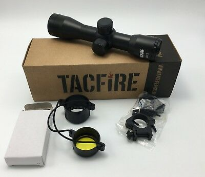 """TacFire Compact 4x32 Fixed Power Mil-Dot Reticle Rifle Scope + 1"""" Rings & Covers"""