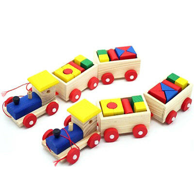 Colorful Wooden Small Train Building Blocks Intellect Educational Blocks Toy HS