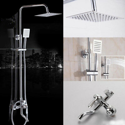 "Wall Mount Chrome Shower Faucet Set 8"" Rainfall Hand Shower Tub Filler Mixer Tap"