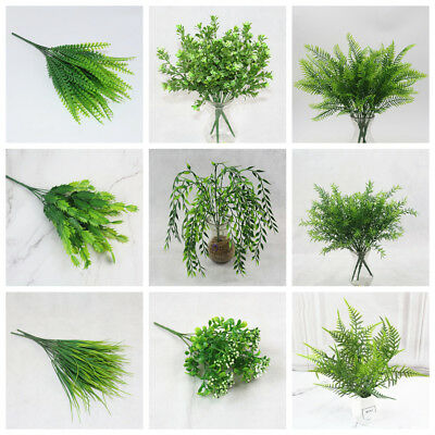 2018 New Green Leaves Artificial Grass Fake Leaf Greenery Foliage Plastic Plant