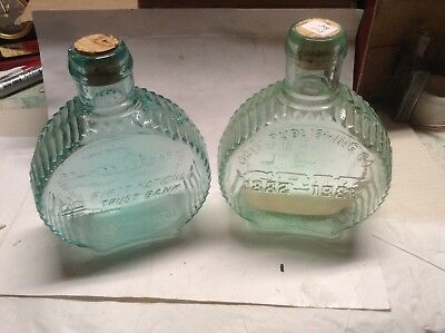 (2) Clevenger Bros. Collectible Hand Made Reproduction Bottles Blue and Green
