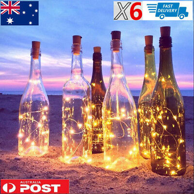 6 Pack LED Cork Wire Copper String Lights Wine Bottle Starry Fairy Party Decor
