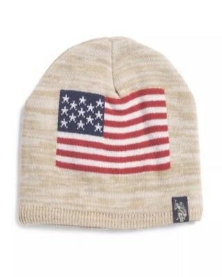 9b0be60a518 US POLO ASSN BEANIE STOCKING Knit Color Block HAT Blue Striped White ...