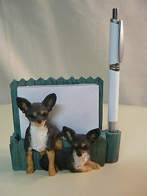 E&S Imports CHIHUAHUA Blk Tan MAGNETIC NOTE PAD & Pen NEW #46480-11 or DESKTOP