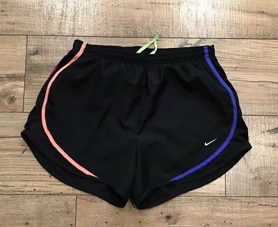 New Nike Womens Shorts Dri Fit Tempo Running Black Rainbow Trim Exercise Medium